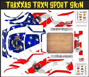 American Eagle & US Flag themed vinyl SKIN Kit & Stickers To Fit Traxxas TRX4 Sport R/C Rock Crawler
